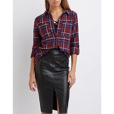 Plaid Flannel Button-Up Shirt