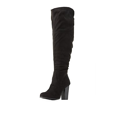 Over-The-Knee Chunky Heel Boots | Charlotte Russe