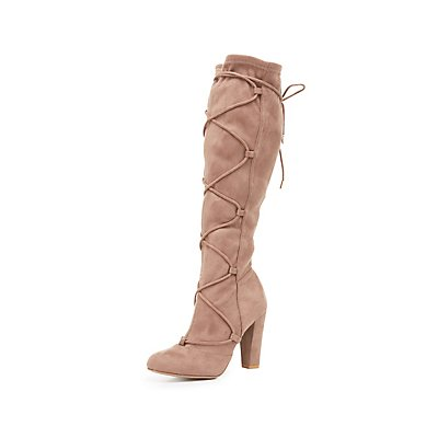 Lace-Up Accent Faux Suede Boots