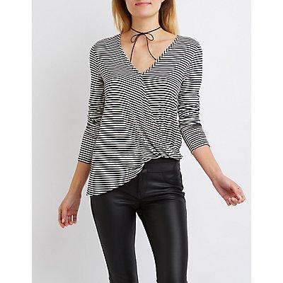 Striped Asymmetrical Surplice Top