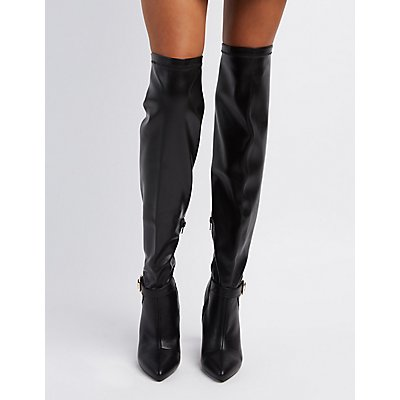 Qupid Pointed Toe Over-The-Knee Boots