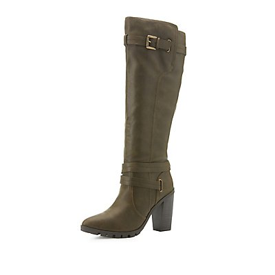 qupid pointed toe knee high boots russe