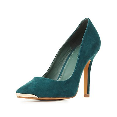 Gold-Tipped Pointed Toe Pumps