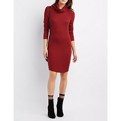 Ribbed Cowl Neck Sweater Dress