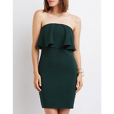Strapless Ruffle Bodycon Dress