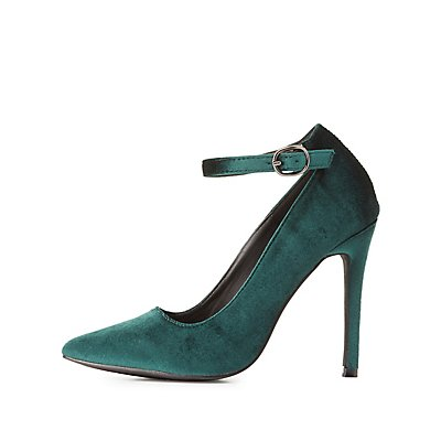 Velvet Ankle Strap Pointed Toe Pumps