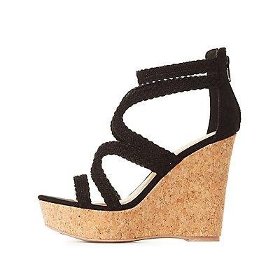 Qupid Braided Cork Wedge Sandals