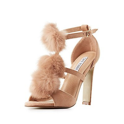 Faux Fur T-Strap Dress Sandals