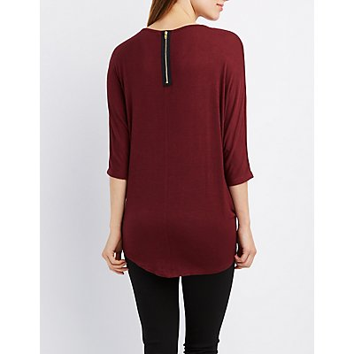 Strappy Knotted Dolman Tee