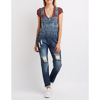Machine Jeans Destroyed Denim Overalls