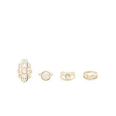 Embellished Cocktail Rings - 5 Pack