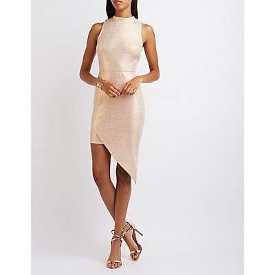 Shimmer Mock Neck Asymmetrical Dress