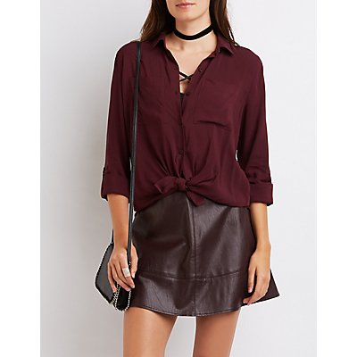 Tie-Front Button-Up Shirt