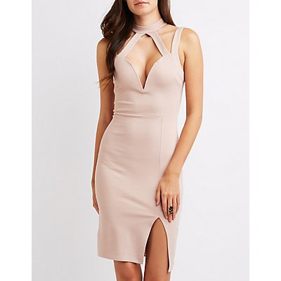 Mock Neck Caged Cut-Out Dress