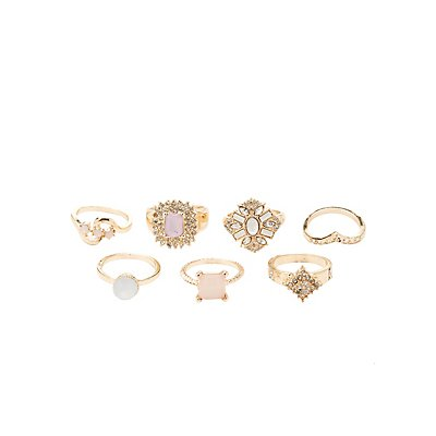 Embellished Cocktail Rings - 7 Pack