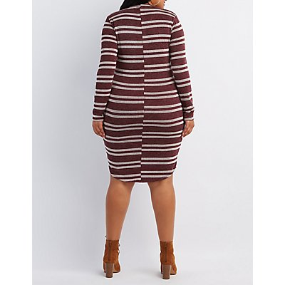 Plus Size Striped Choker Neck Dress