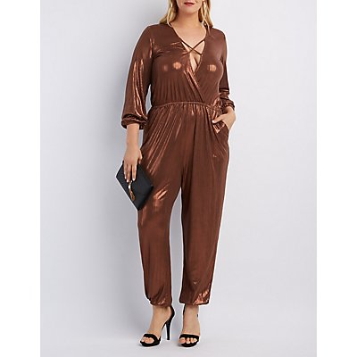Plus Size Metallic Strappy Surplice Jumpsuit