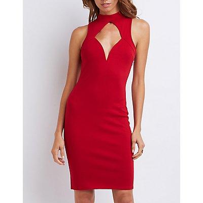 Mock Neck Cut-Out Bodycon Dress