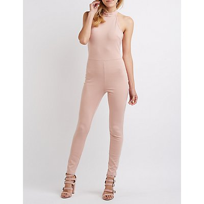 Mock Neck Open Back Jumpsuit