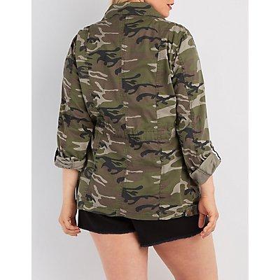 Plus Size Camo Print Anorak Jacket