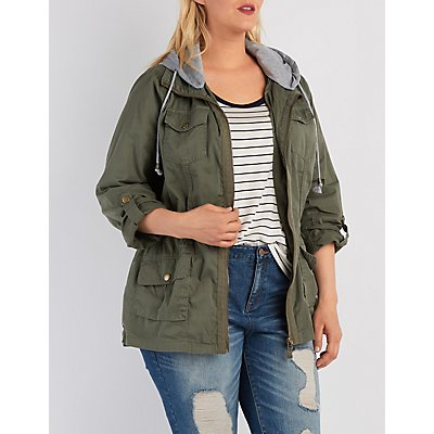 Plus Size Removable Hood Anorak Jacket