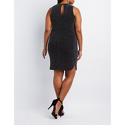 Plus Size Shimmer Cut-Out Bodycon Dress