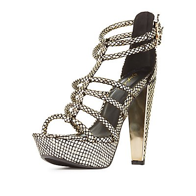 Qupid Tubular Platform Dress Sandals