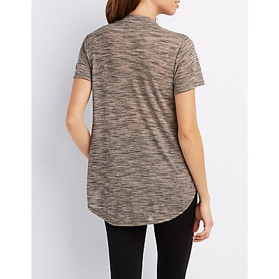 Marled Mock Neck Swing Tee