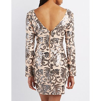 Sequin Open Back Bodycon Dress - Charlotte Russe