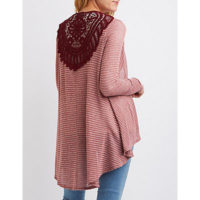 Crochet-Back Pointelle Cardigan