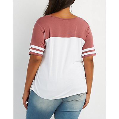 Plus Size Varsity Stripe Football Tee