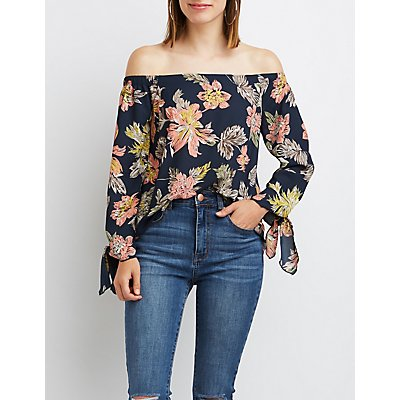 Floral Off-The-Shoulder Tie Sleeve Top