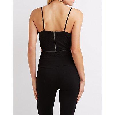 Lace Cut-Out Bustier Bodysuit