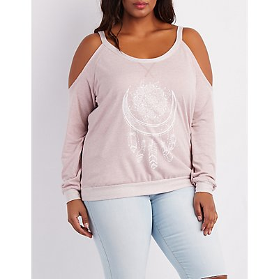 Plus Size Graphic Cold Shoulder Sweatshirt