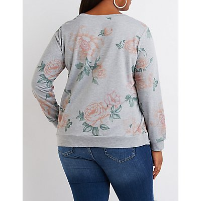 Plus Size Floral Crew Neck Sweatshirt
