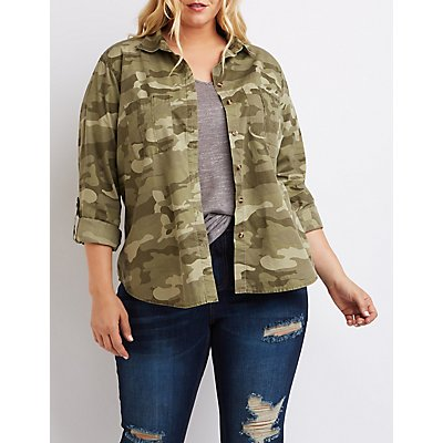 Plus Size Camo Button-Up Shirt