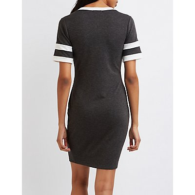 Varsity Striped T-Shirt Dress