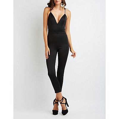 Strappy Scuba V-Neck Jumpsuit