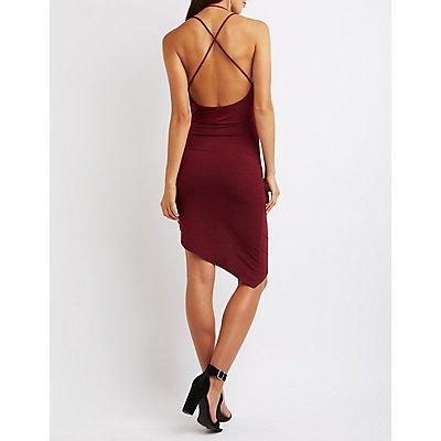 Strappy Draped Asymmetrical Dress