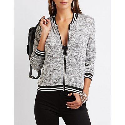 Marled Knit Bomber Sweatshirt