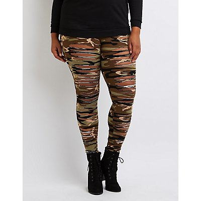 Plus Size Camo Slashed Leggings