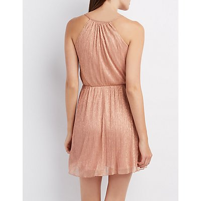 Shimmer Surplice Skater Dress