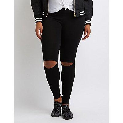 Plus Size Slit Cotton Leggings