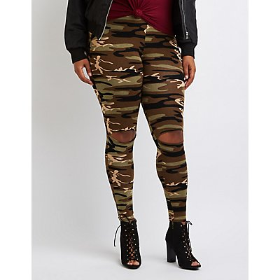 Plus Size Camo Slit Leggings