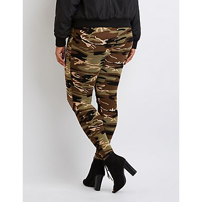 Plus Size Camo Slit Leggings