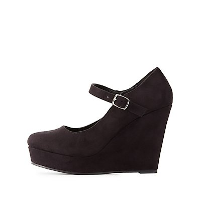Faux Suede Platform Wedge Sandals