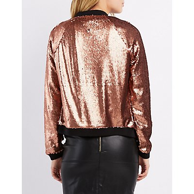 Sequin ZIp-Up Bomber Jacket