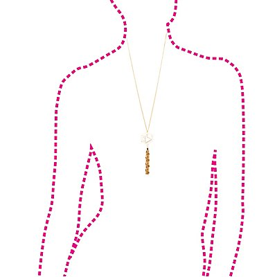 Floating Crystal & Fringe Drop Necklace