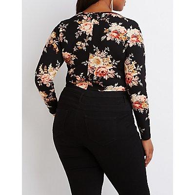 Plus Size Floral Plunging Bodysuit
