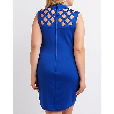 Plus Size Laser Cut Yoke Bodycon Dress